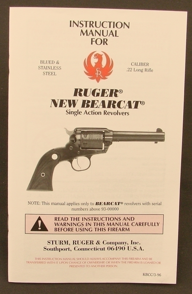 ruger new bearcat sa revolver factory manual rh joesalter com ruger bearcat instructions ruger bearcat owners manual
