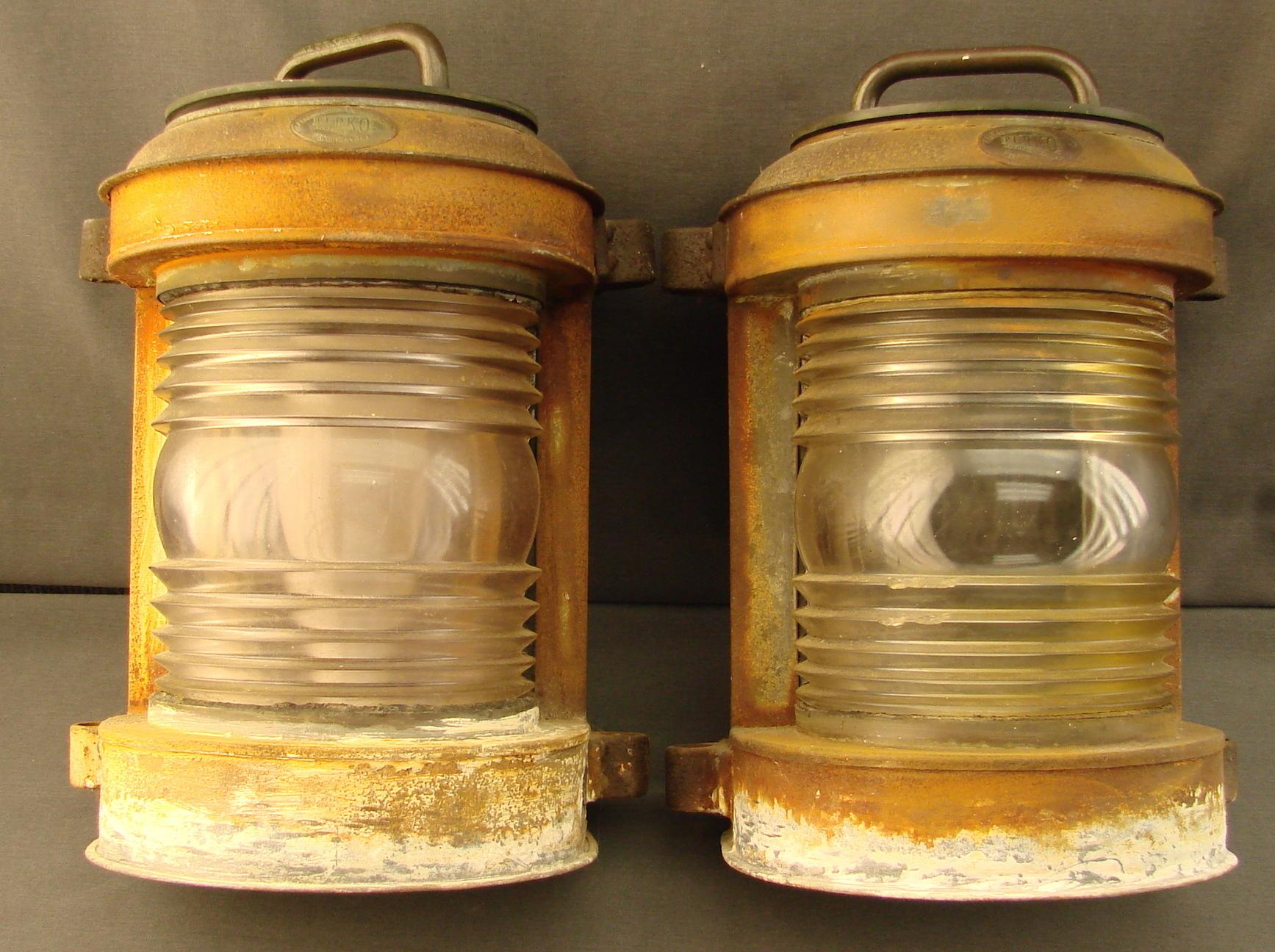 Pair Of Perkins Electrified Marine Lamps