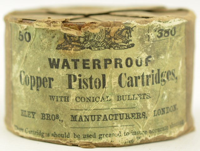Eley Bros 380 Pistol cartridges Rare Round Tin