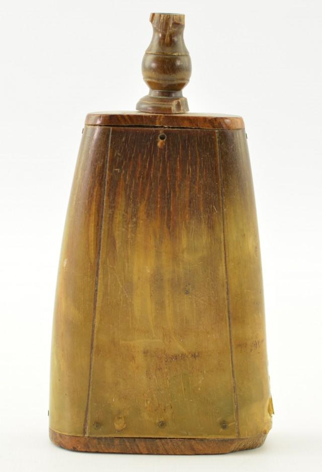 Antique Flattened Horn Priming Flask
