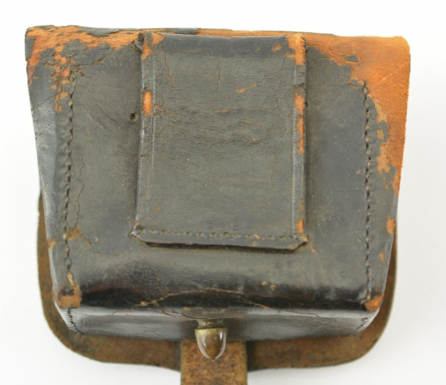 Leather Pistol or Cap Box with U.S. Plate