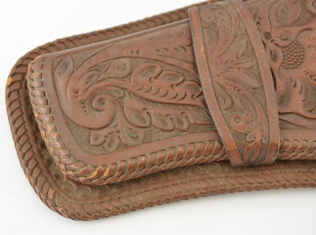 Left Handed Floral Carved Leather Holster
