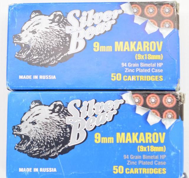 Silver Bear 9MM Makarov Hollow Point 100 Rnds