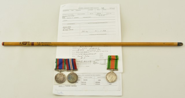 Handmade Swagger Stick and Medals Belonging to Pvt. Leo D. Melanson RC