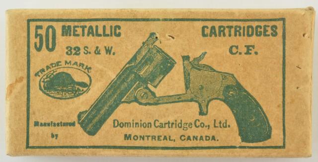 Early Sealed Dominion Cartridge Box 32 S&W 1900