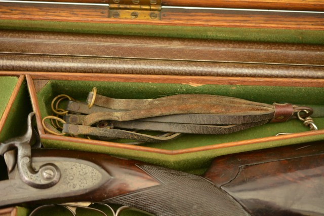 British Percussion Double Gun by George Wilson w/ Lancaster Case
