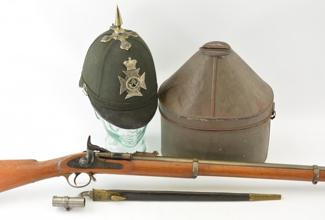 Rare Canadian Militia Unit Marked Snider Rifle - Helmet and Bayonet