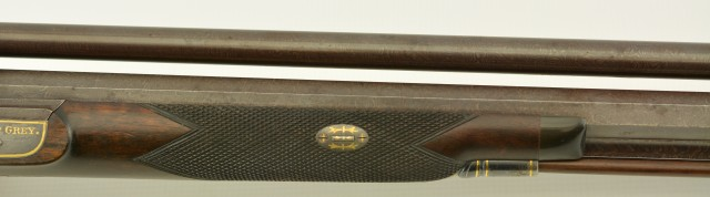 British Percussion Scoped Sporting Rifle Cased w/ Gold Inlay
