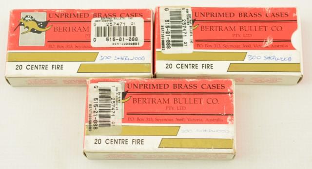 Bertram Brass Unprimed .300 Sherwood Cases (Three Boxes)
