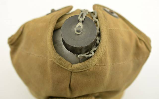 Named World War II Canteen Canvas Lined Pouch and Cup