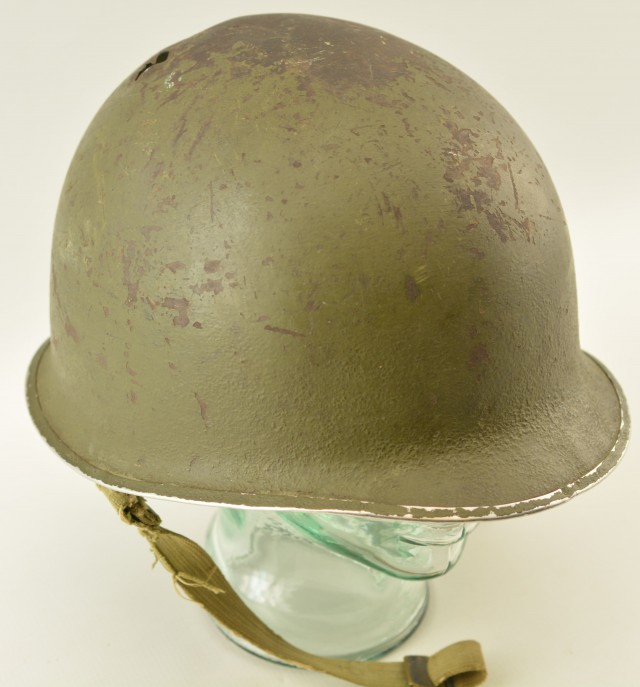 WW2 US Helmet Fixed Bale Front Seam Shrapnel Hole