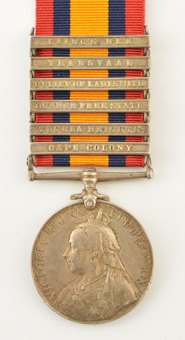Boer War South Africa Medal and Clasps of Pvt. W. Cooke, KRRC