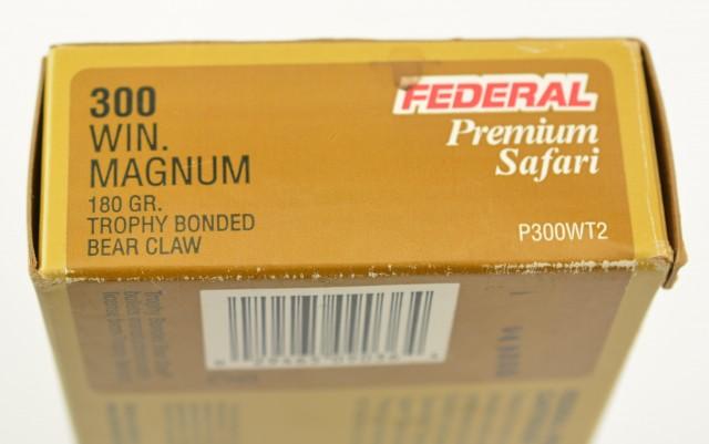 Federal Premium Safari 300 Win. Mag 180Gr Trophy Bonded Bear Claw