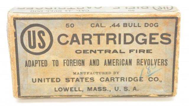 Rare Full Box 44 Bull Dog US Cartridge Lowell, Mass Ammo