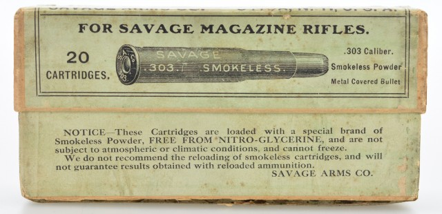 Early Rare 303 Savage Box Ammunition No. 1 Metal Covered Full