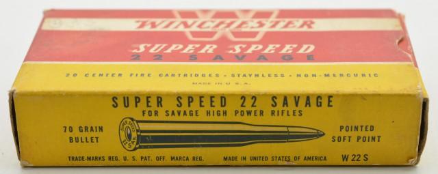 "Winchester Super Speed 22 Savage ""1946"" Box Excellent Ammo"