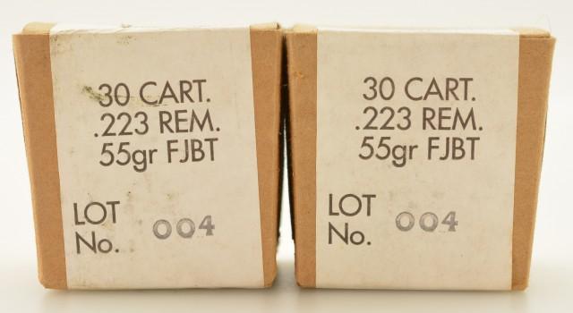 South African 223 Remington Ammo 55 Grain FJBT Bullets 60 Cartridges