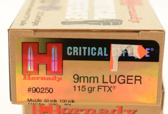 Hornady Critical Defense 9mm Luger 115 GR FTX 50 Rounds Ammo