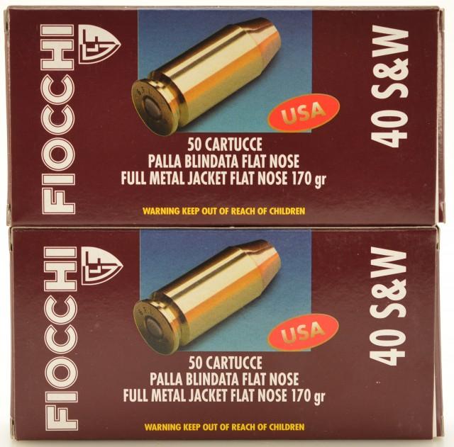 Fiocchi 40 S&W Ammo 170 Grain FMJFN Bullets 100 Rds.