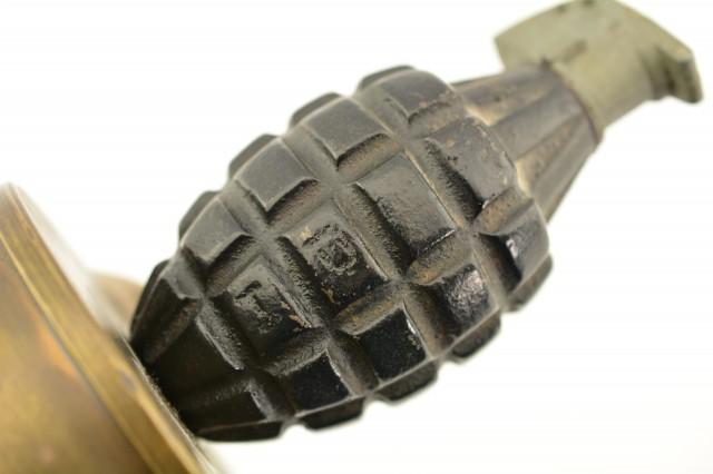WWII MK II Pineapple Grenade Trench Art Display 1945 76mm Shell