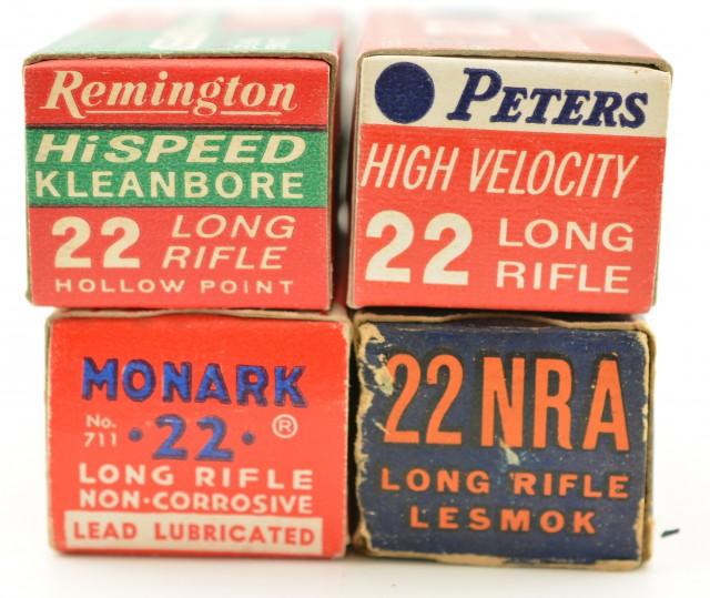 Lot of 4 Vintage 22 LR US NRA Lesmok Peters Rem Fed Ammo 200 Rds
