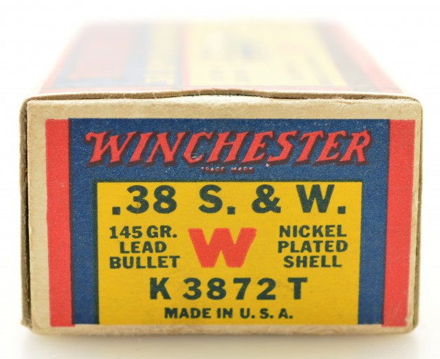 """Excellent Winchester 38 S&W """"1939"""" Box Ammo Full 145 Gr Nickel Plated"""