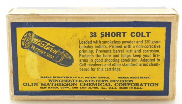 "Western ""bullseye"" Box 38 Short Colt 130 Gr Lubaloy 50 Rds Ammo Excell"