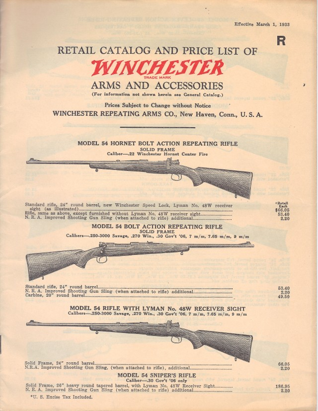 Winchester Retail Catalogue 3-1-1933