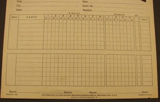 Winchester Skeet Score Sheet