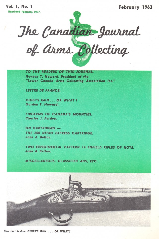 Canadian Journal of Arms Collecting - Vol. 1 No. 1 (Feb 1962)