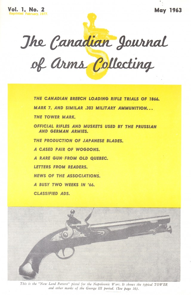 Canadian Journal of Arms Collecting - Vol. 1 No. 2 (May 1962)