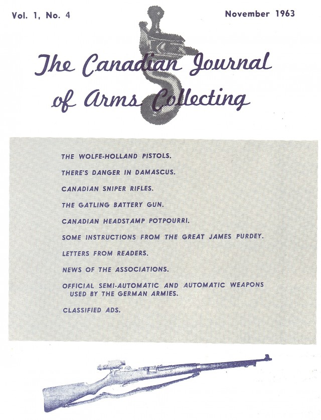 Canadian Journal of Arms Collecting - Vol. 1 No. 4 (Nov 1963)