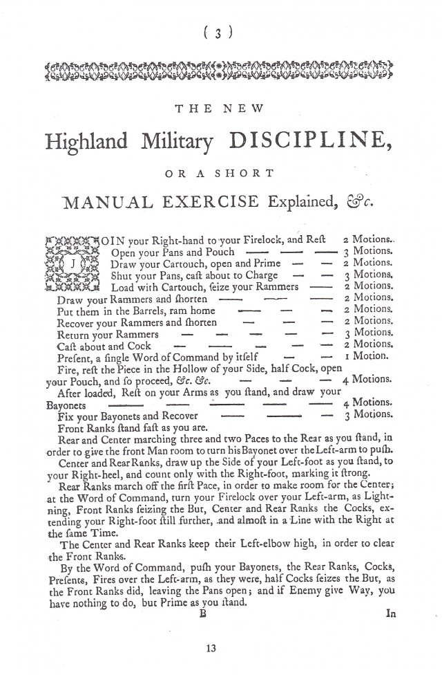 The New Highland Military Discipline Reprint of 1757 Training Aid